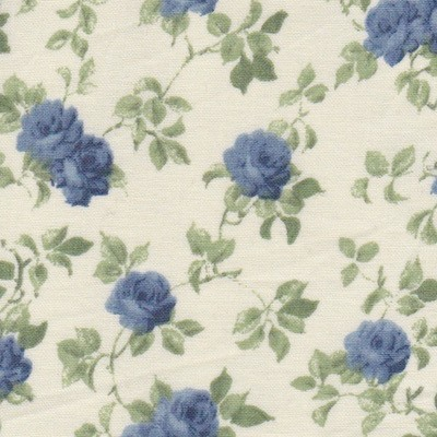 Tissu grandes fleurs bleues