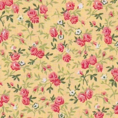 Tissu fleurs pivoines jaunes