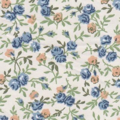 Tissu fleurs pivoines bleues