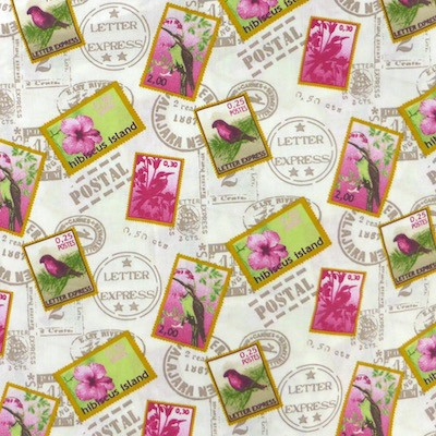 Tissu motif timbres