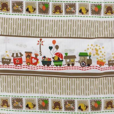 Tissu motif wagon rayures