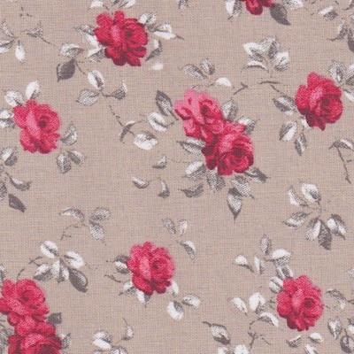Tissu grades fleurs rouges