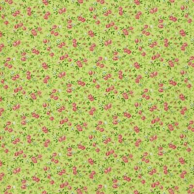 Tissu fleurs vertes