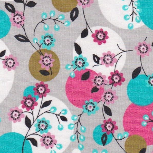 Tissu fleurs et ballons