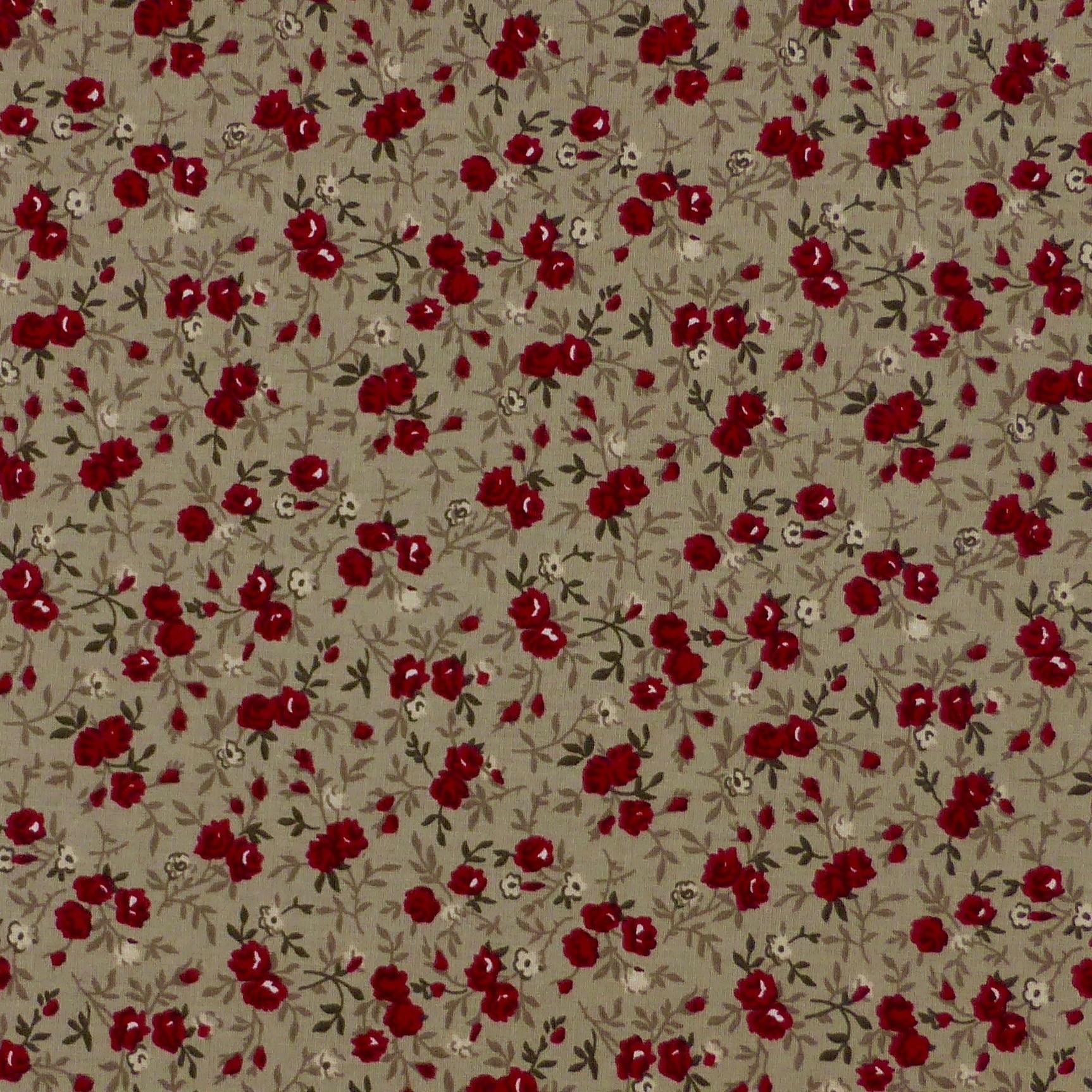Tissu fleurs petites rouges