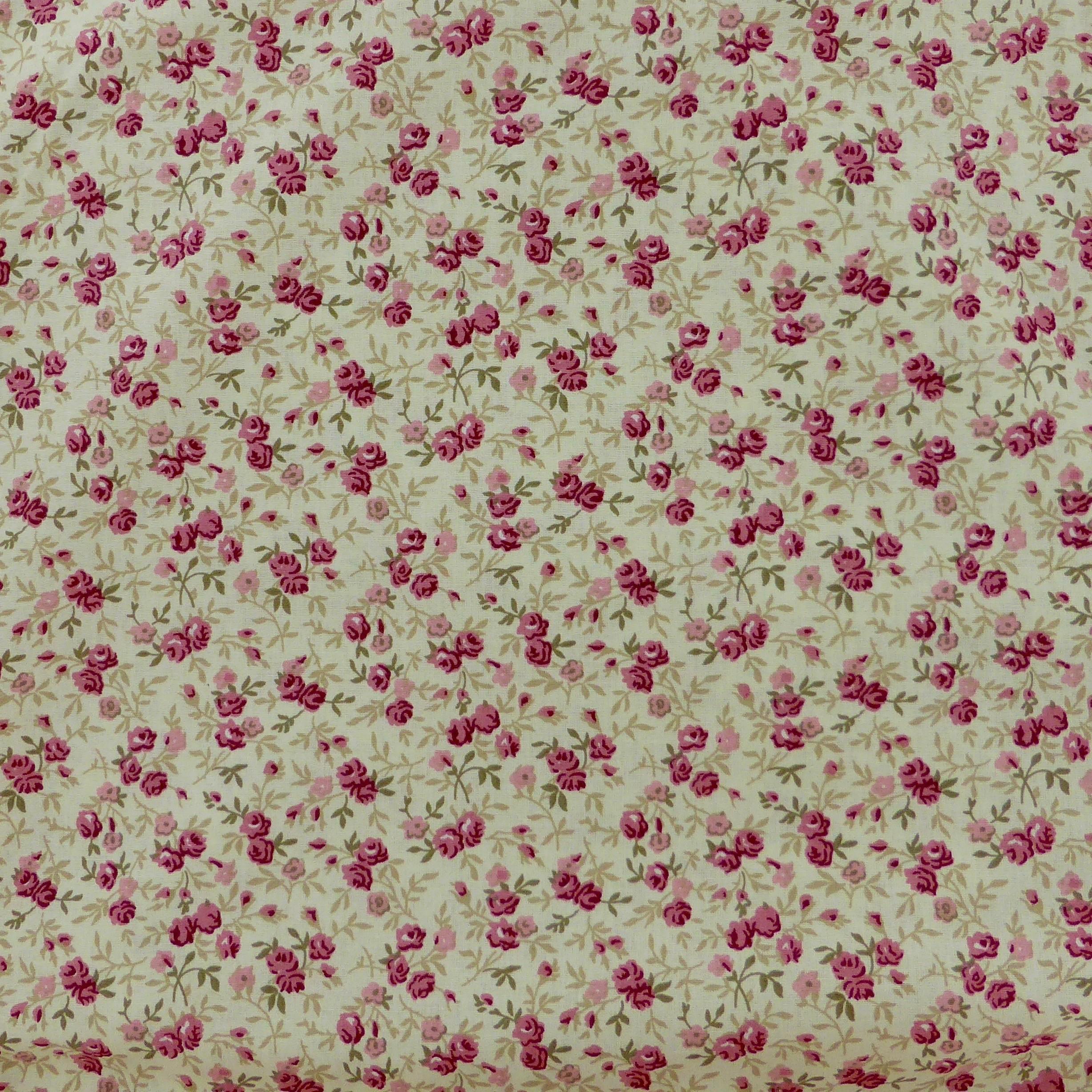 Tissu fleurs pivoines roses