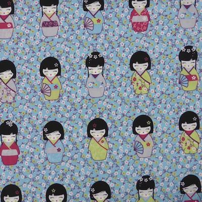 Tissu motif poupées chinoises