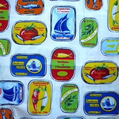 Tissu motif sardines