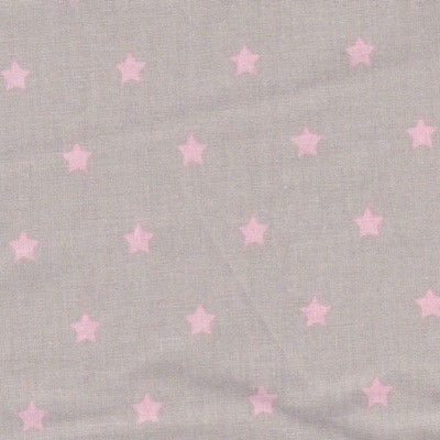 Tissu étoiles roses fond taupe