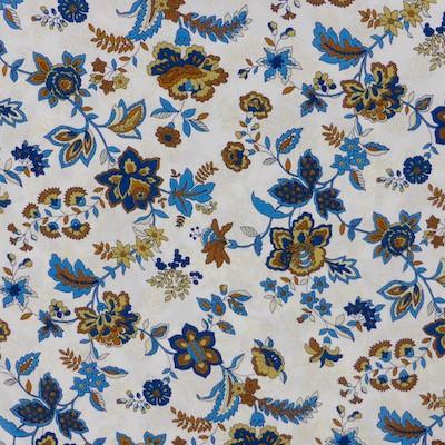 Tissu fleurs bleues